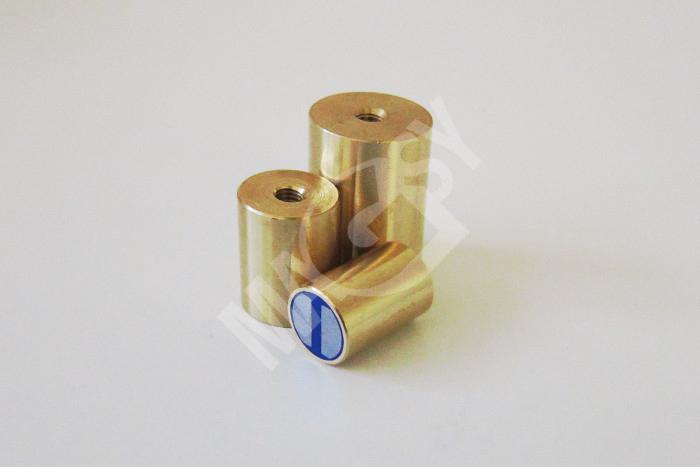 Magneti cilindrici piatti in ottone con rivestimento in gomma magsy